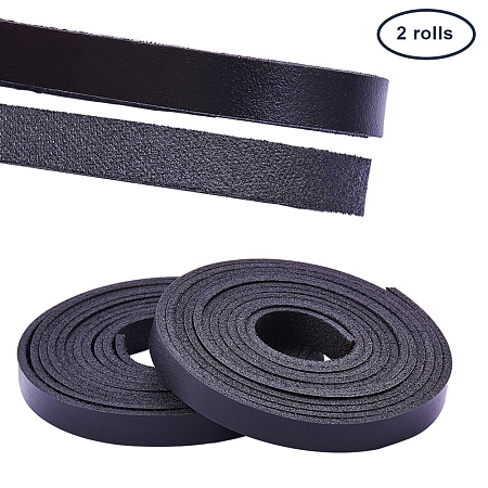 PandaHall Elite Leather Strap 157 Inches Long 3/8 Inch Wide Leather Craft Strip (Black)