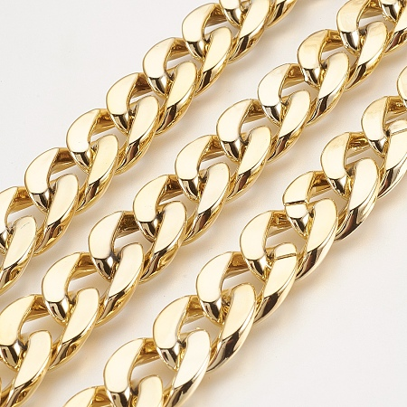 NBEADS 1m/1.09 Yards Golden Color CCB Plastic Twisted Chains Curb Chains Jewelry Making Chains Necklace Link Cable Chain for DIY Jewelry Making