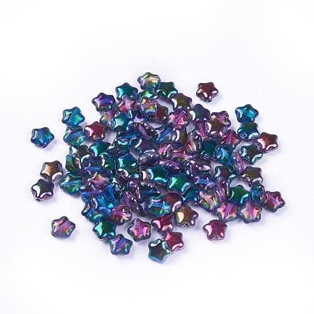 NBEADS Czech Glass Beads, Star, Colorful, 6x6x3mm, Hole: 0.8mm; about 67pcs/10g