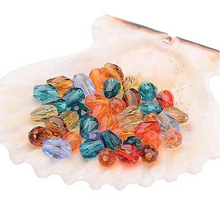 ARRICRAFT 50pcs Faceted Drop Transparent Glass Bead Strands, Mixed Color, 5x3mm, Hole: 1mm