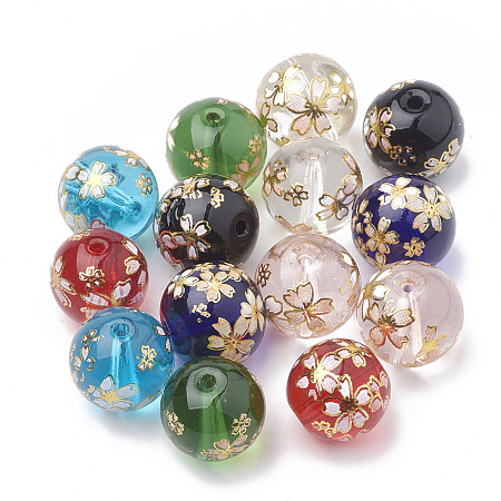 Arricraft Flower Painted Transparent Glass Beads, Round, Mixed Color, 12mm, Hole: 1~1.5mm