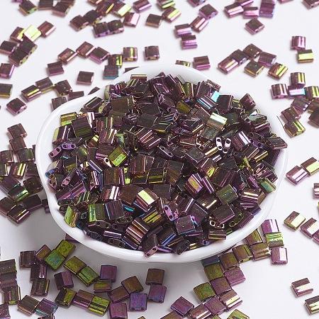 MIYUKI TILA Beads, Japanese Seed Beads, 2-Hole, (TL301) Dark Topaz Rainbow Gold Luster, 5x5x1.9mm, Hole: 0.8mm; about 118pcs/10g