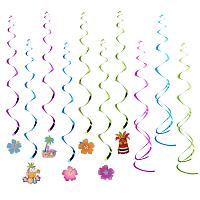 PandaHall Elite 30 Pcs Hawaiian Decorations Hanging Swirls 3 Colors for Luau Beach Summer Birthday Pool Party Favor