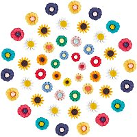 NBEADS 108 Pcs Resin Daisy Flowers, Sunflower Resin Cabochons Daisy Flower Epoxy Charms for DIY Craft Cloth Pen Box Home Decoration