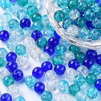 Arricraft Baking Painted Crackle Glass Beads, Carribean Blue Mix, Round, Mixed Color, 6~6.5x5.5~6mm, Hole: 1mm, about 200pcs/bag