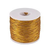 PandaHall Elite 1mm 100m/ 109 Yards Metallic Tinsel Elastic Cord Polyester Ribbon Stretch Beading Cord for Jewelry Making Gift Wrap Ribbon, Gold