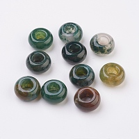 Natural Indian Agate European Beads, Large Hole Beads, Rondelle, 14x8mm, Hole: 6mm