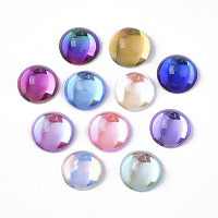 Transparent K9 Glass Cabochons, Flat Back, Half Round/Dome, Mixed Color, 12x6.5mm; about 40pcs/bag
