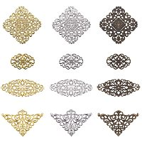Arricraft 60pcs Filigree Wrap Charm Pendant Connector, 3 Color 4 Size Flower Filigree Connectors Charms Metal Wraps Connector for DIY Hairpin Headwear Earring Jewelry Making