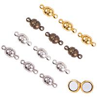 PandaHall Elite 100 Sets 4 Color Round Brass Magnetic Clasps Magnet Converter for Bracelet Necklace Making (Antique Bronze, Platinum, Silver, Golden)