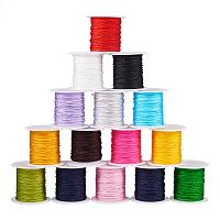 PandaHall Elite 15 Colors 0.8mm Nylon Beading String Knotting Cord, Chinese Knotting Cord Nylon Shamballa Macrame Thread Beading Cord, 10.93yards/ Roll