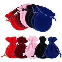 NBEADS 50 Pcs 5 Colors Velvet Bags, Velvet Cloth Drawstring Pouches for DIY Candy Gift and Jewelry Necklace Bracelet Packing, 9x7cm