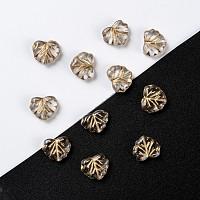 Arricraft Autumn Theme Czech Glass Beads, Maple Leaf, Light Khaki, 10.5x13x4mm, Hole: 0.8mm, about 11pcs/10g