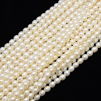 Grade A Natural Cultured Freshwater Pearl Beads Strands, Rice, Creamy White, 4~5x3~3.5mm, Hole: 0.8mm; about 75pcs/strand, 13.77 inches~14.17 inches
