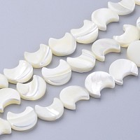 ARRICRAFT Natural White Shell Beads Strands, Mother of Pearl Shell Beads, Moon, White, about 11mm wide, 12mm long, 3mm thick, hole: 1mm, 34 pcs/strand, 16 inches