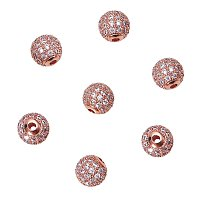 NBEADS 10 Pcs Rose Gold Cubic Zirconia Beads, 8mm Brass Clear Crystal CZ Stones Pave Micro Setting Disco Ball Spacer Beads Round Charms Beads for Jewelry Making