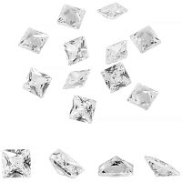 PandaHall Elite 100 pcs Square Clear Cubic Zircon Stone Loose Faceted Pointed Back Cabochons for Earring Bracelet Pendants Jewelry DIY Craft Making