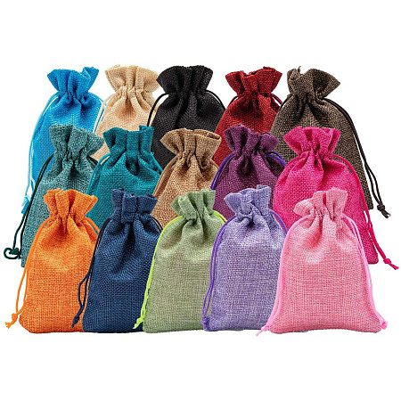 BENECREAT 30Pack 15 Color Burlap Bags with Drawstring Gift Bags Jewelry Pouch for Valentine's Day, Wedding Party and DIY Craft Packing, 5.5 x 3.9 Inch