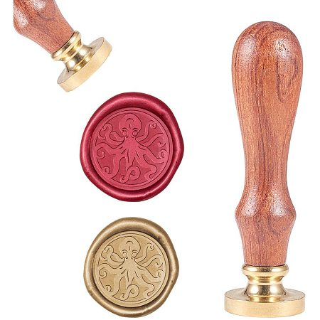 CRASPIRE Octopus Wax Seal Stamp, Vintage Wax Sealing Stamps Ocean Creature Retro Wood Stamp Removable Brass Head 25mm for Wedding Envelopes Invitations Embellishment Bottle Decoration Gift Card