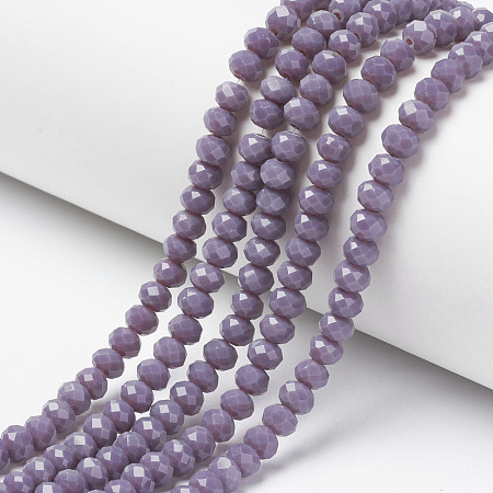 Arricraft Opaque Solid Color Glass Beads Strands, Faceted, Rondelle, Medium Purple, 4x3mm, Hole: 0.4mm, about 130pcs/strand, 16.54 inches(42cm)