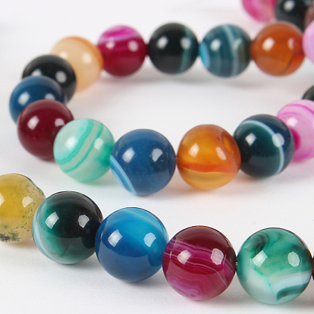 Nbeads Natural Gemstone Agate Round Bead Strands, Dyed, Mixed Color, 8mm, Hole: 1mm; about 49pcs/strand, 14.96