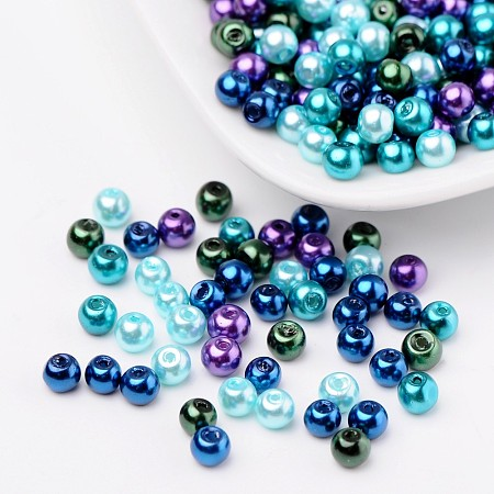 ARRICRAFT 4mm Ocean Mix Pearlized Glass Pearl Beads, Mixed Color, Hole: 1mm; about 400pcs/box
