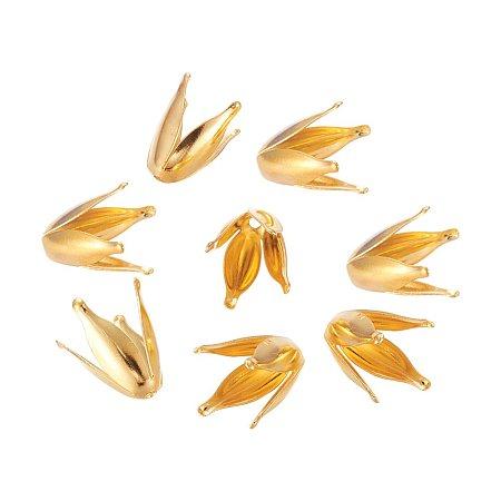 NBEADS 1000 Pcs 4-Petal Iron Flower Bead Caps, Golden, 13x7x7mm, Hole: 1mm