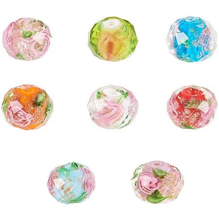 PandaHall Elite 32pcs Floral Lampwork Beads Assorted Color Gold Sand Faceted Glass Beads for Bracelet Necklace Jewelry Making Supplies, 10mm