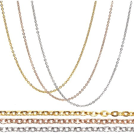 BENECREAT 24 Strands 18 Inches Mixed 304 Stainless Steel Link Cable Chains 1.5mm Necklace Chains with Spring Clasps and Clear Plastic Box for Jewelry Making