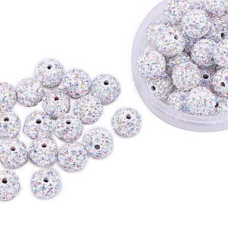ARRICRAFT 100 Pcs 10mm Crystal AB Shamballa Pave Disco Ball Clay Beads, Polymer Clay Rhinestone Beads Round Charms Jewelry Makings