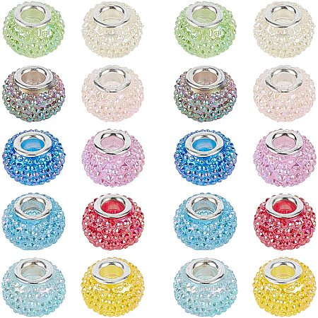 NBEADS 30 Pcs Resin European Beads Large Hole Beads AB Color Rondelle Berry Beads for Jewelry Making