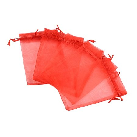 NBEADS 100pcs 4x6 Inch Red Organza Gift Bags with Drawstring Storage Bags Candy Pouch Party Wedding Favor Gift Bags