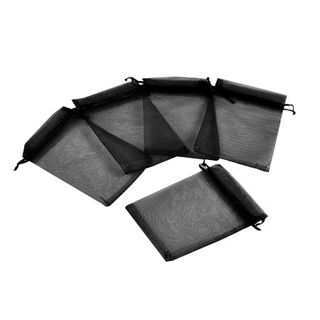 NBEADS 100pcs 4x6 Inch Black Organza Gift Bags with Drawstring Storage Bags Candy Pouch Party Wedding Favor Gift Bags