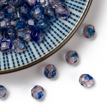 NBEADS Czech Fire Polished Glass Beads, Faceted, Drum, Blue, 6x6mm, Hole: 1mm; about 37pcs/10g