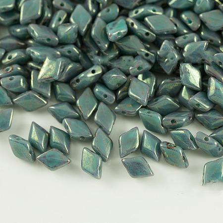 NBEADS Czech Glass Beads, 2-Hole, Rhombus, CadetBlue, 8x5x3.5mm, Hole: 0.8mm; about 64pcs/10g