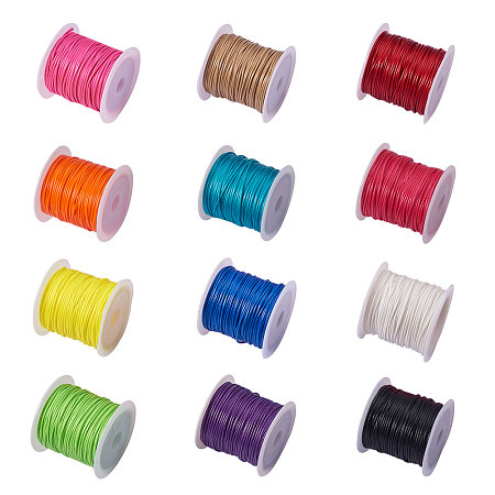 PandaHall Elite 12 Rolls 1mm Waxed Cotton Cord Thread Beading String 10.9 Yards per Roll Spool 12 Colors Jewelry Making Macrame Supplies
