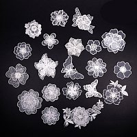NBEADS 20 Pcs White Organza Embroidery Lace Flower Iron On Patches Appliques DIY Craft Lace for Decoration, Sew On Patches for Repairing and Decorating Clothing, Bags