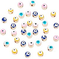 NBEADS 120 Pcs About 5.5~6mm Evil Eye Alloy Enamel Beads, 4 Assorted Color Round Golden Evil Eye Enamel Charms Spacer Beads for Bracelets Necklace Jewelry Making