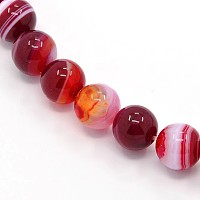 """Nbeads Round Dyed Natural Striped Agate/Banded Agate Beads Strands, DarkRed, 8mm, Hole: 1mm; about 48pcs/strand, 15.2"""""""