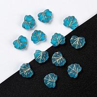 Arricraft Czech Glass Beads, Maple Leaf, Sky Blue, 10.5x13x4mm, Hole: 0.8mm, about 11pcs/10g
