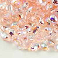 NBEADS Czech Glass Beads, Tulip Petal/Lily Petal, PeachPuff, 8.5x6x4mm, Hole: 1mm; about 37pcs/10g