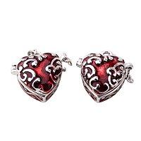 ARRICRAFT 2 pcs Red Heart Brass Prayer Wish Craft Photo Frame Locket Box Necklace Pendants