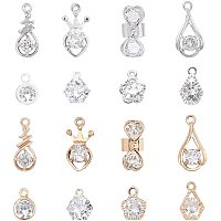 PandaHall Elite 64pcs 8 Style Cubic Zirconia Alloy Charms Silver Gold Crystal Pendant Charms Choker Tiny Dangle Charms for Necklace, Bracelet, Earring Making