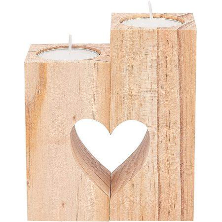 OLYCRAT Wooden Heart Candle Holder Natural Tealight Holder Decorative Wood Tealight Holders Heart Pedestal Candle Holder for Wedding and Valentine's Day