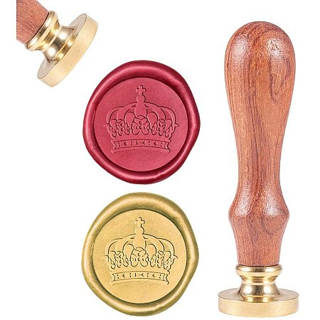 CRASPIRE Wax Seal Stamp, Sealing Wax Stamps Crown Pattern Retro Wood Stamp Wax Seal 25mm Removable Brass Seal Wood Handle for Envelopes Invitations Wedding Embellishment Bottle Decoration