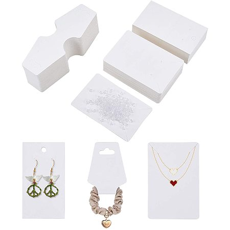 PandaHall Elite 400 pcs Jewelry Display Kit, 100 pcs Paper Necklace NULL 100 Earring Packaging Holder Cards 200 pcs Clear Plastic Earring Backs for Earing Jewelry Findings, White