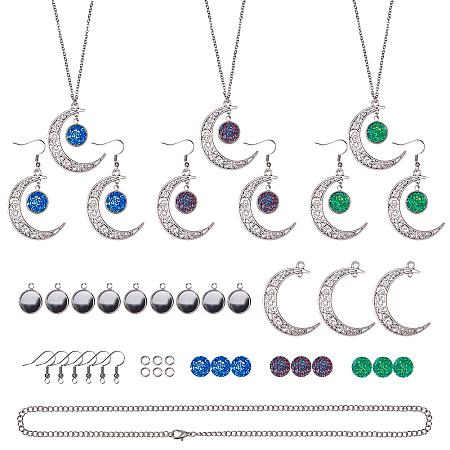 SUNNYCLUE Druzy Cabochon Pendant Crescent Moon Necklace Earrings Jewelry Making Starter Kit - 12mm Druzy Resin Cabochons, Pendant Cabochon Settings, Moon Links, Earring Hooks, 18