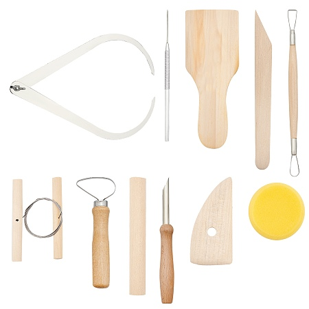 Tool Sets, with Wooden Pottery Clay Carving Curved Clapper Tool, Rolling Pin, Circular Clay Hole Cutters and Pottery Tools, Blanched Almond