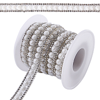 Gorgecraft Two Rows Rhinestone Cup Chain((Hot Melt Adhesive On The Back), Hotfix Rhinestone, with ABS Plastic Imitation Pearl and Spools, Crystal, 10x3mm; 4yards/roll(3.65m/roll)