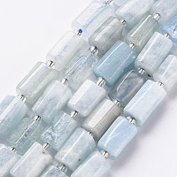 ARRICRAFT Natural Aquamarine Beads Strands, Faceted, Column, 8~11x6~8x5~7mm, Hole: 1mm, about 17pcs/strand, 7.48 inches